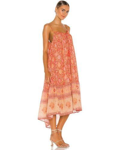 Czerwona sukienka midi skórzana do pracy Spell & The Gypsy Collective