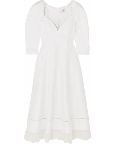 Хлопковое кружевное белое платье миди Khaite