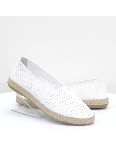 Кожаные слипоны - белые Yu.g