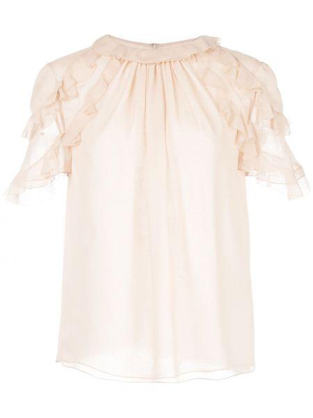 Розовая блузка с оборками прозрачная с воротником Jason Wu Collection
