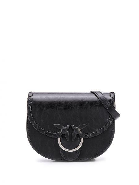 Кожаный черный ремень с поясом Pinko