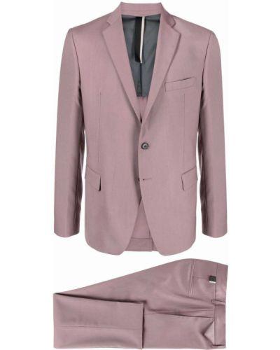 Różowy garnitur slim wełniany z paskiem Low Brand