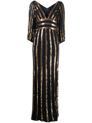 Синее платье макси с пайетками в полоску Jenny Packham