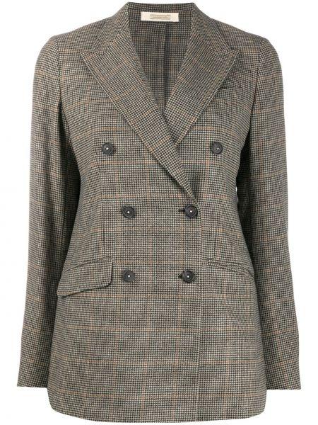 Коричневый классический пиджак двубортный с карманами Massimo Alba