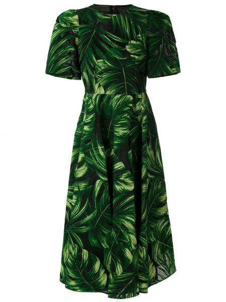 Расклешенное приталенное шелковое платье миди с вырезом Dolce & Gabbana