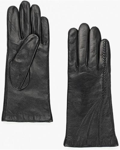 Черные кожаные перчатки Eleganzza