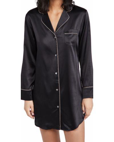 Czarna koszula nocna z długimi rękawami z jedwabiu Journelle