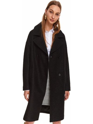 Czarny płaszcz wełniany z długimi rękawami Top Secret
