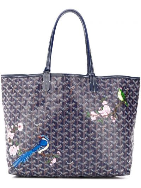 Niebieska torba na ramię skórzana z printem Goyard