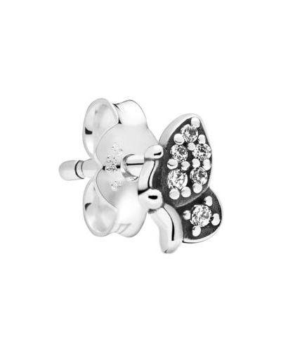 Черные серебряные серьги с фианитом Pandora