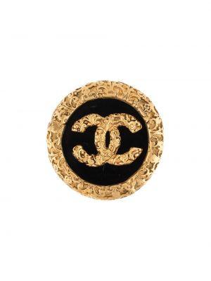 Czarna złota broszka pozłacana Chanel Pre-owned