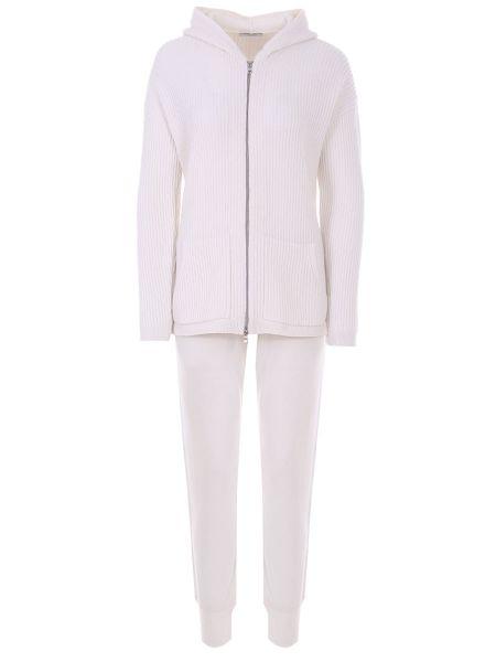 Белый кашемировый костюмный костюм с поясом Gran Sasso