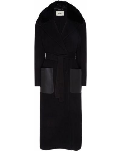 Длинное пальто шерстяное с воротником Fendi