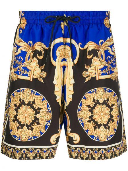 Желтые короткие шорты на резинке Versace