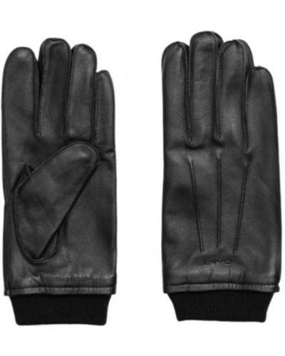 Czarne rękawiczki Gant
