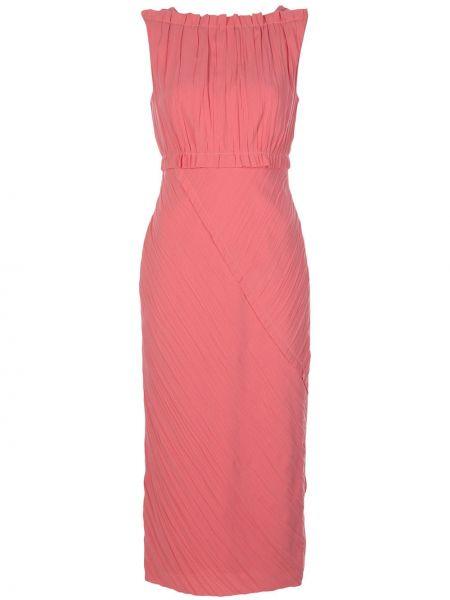Розовое платье миди с V-образным вырезом без рукавов на молнии Jason Wu Collection