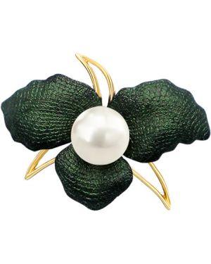 Серебряная брошь с камнями позолоченная De Fleur