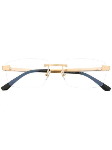 Złote czarne okulary Cartier