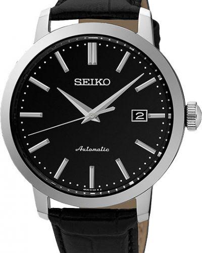 Часы механические водонепроницаемые с кожаным ремешком Seiko