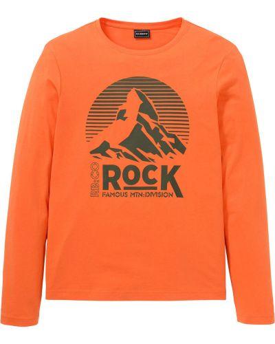 Оранжевая футболка с рисунком с круглым вырезом Bonprix