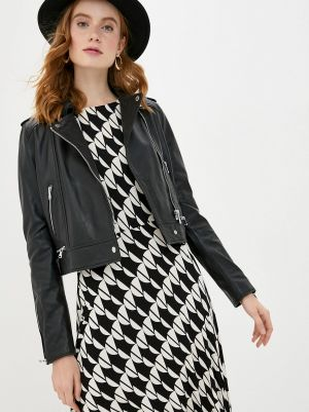 Кожаная черная кожаная куртка Oakwood