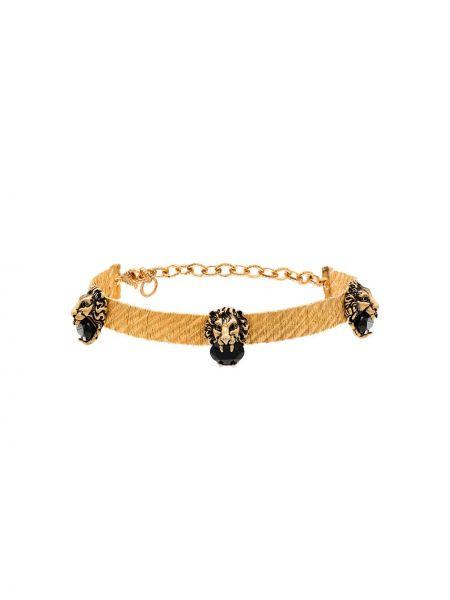 Золотистый чокер золотой с камнями Gucci