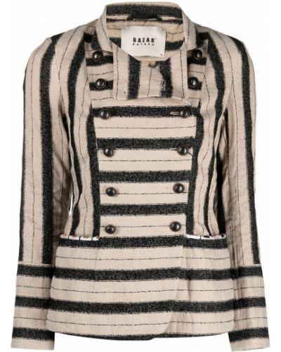 Удлиненный пиджак двубортный с воротником в полоску Bazar Deluxe