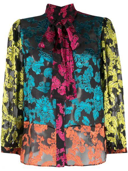 Шелковая черная блузка с бантом Alice+olivia