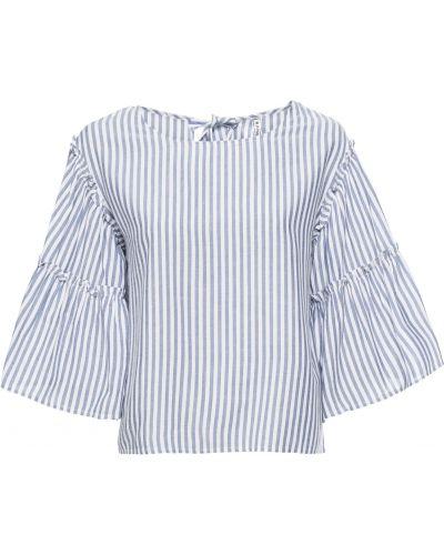 Блузка с длинным рукавом с рюшами синяя Bonprix