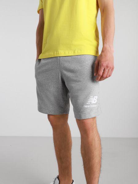 Серые хлопковые спортивные шорты с поясом New Balance