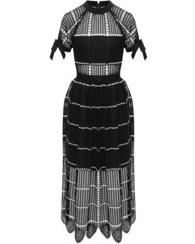 Платье миди вязаное с поясом Self-portrait