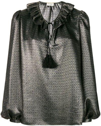 Блузка шелковая с рюшами Saint Laurent