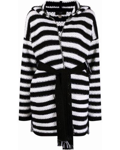 Шерстяное черное пальто классическое с капюшоном Alanui