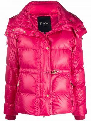 Пуховик с капюшоном - розовый Fay