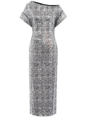 Платье макси с пайетками серебряный Christopher Kane