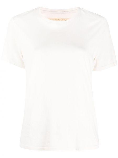 С рукавами хлопковая прямая футболка с вырезом Raquel Allegra