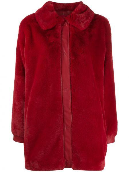 Красная искусственная шуба с воротником на пуговицах из искусственного меха Liu Jo