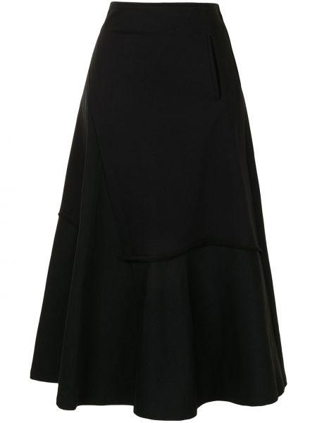 С завышенной талией черная юбка миди с оборками Y`s