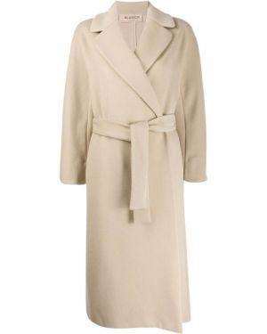 Бежевое длинное пальто с поясом Blanca