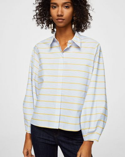 Блузка с поясом в полоску в клетку классическая Mango