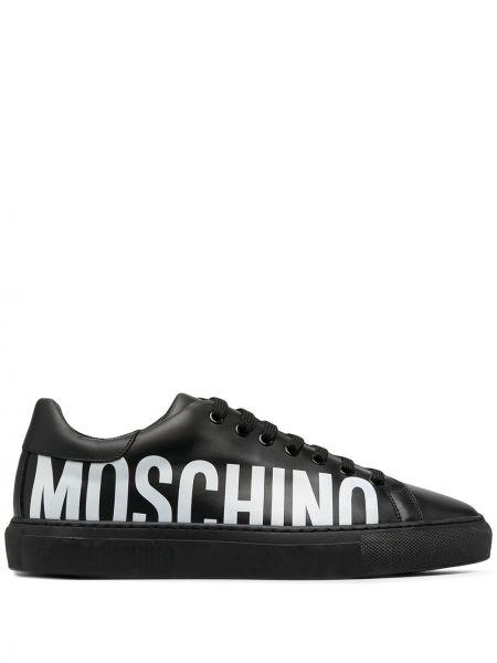 Skórzany koronkowa czarny skórzane sneakersy na sznurowadłach Moschino