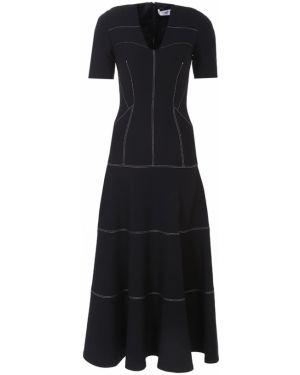 Черное приталенное платье миди с V-образным вырезом на молнии Amanda Wakeley