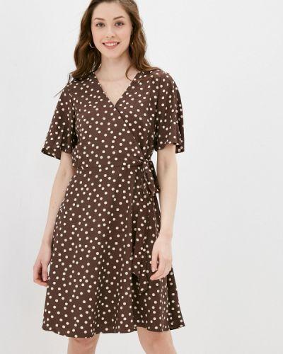 Коричневое платье с запахом Zarina