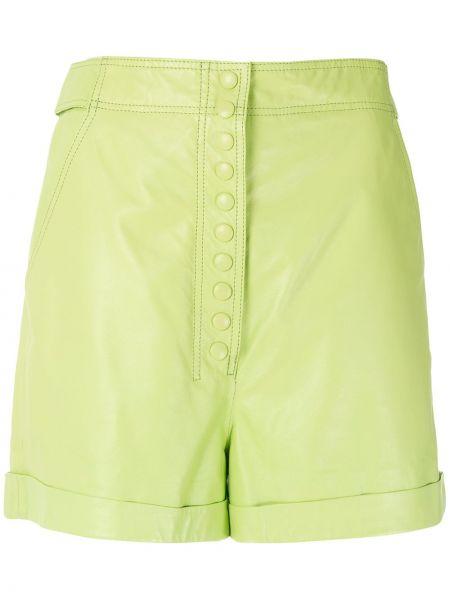Зеленые с завышенной талией кожаные шорты Nk