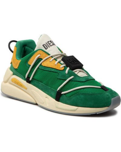 Zielone sneakersy koronkowe Diesel