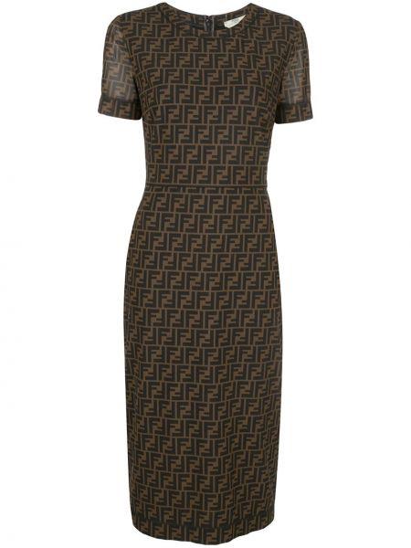 Коричневое приталенное платье миди с вырезом на молнии Fendi