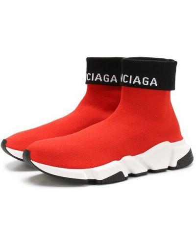 Красные кроссовки текстильные Balenciaga