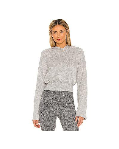 С рукавами хлопковый серый свитер на резинке Beyond Yoga