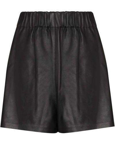 Черные с завышенной талией кожаные шорты Tibi