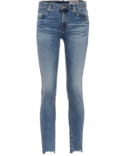 Skórzany bawełna zawężony niebieski obcisłe dżinsy Ag Jeans